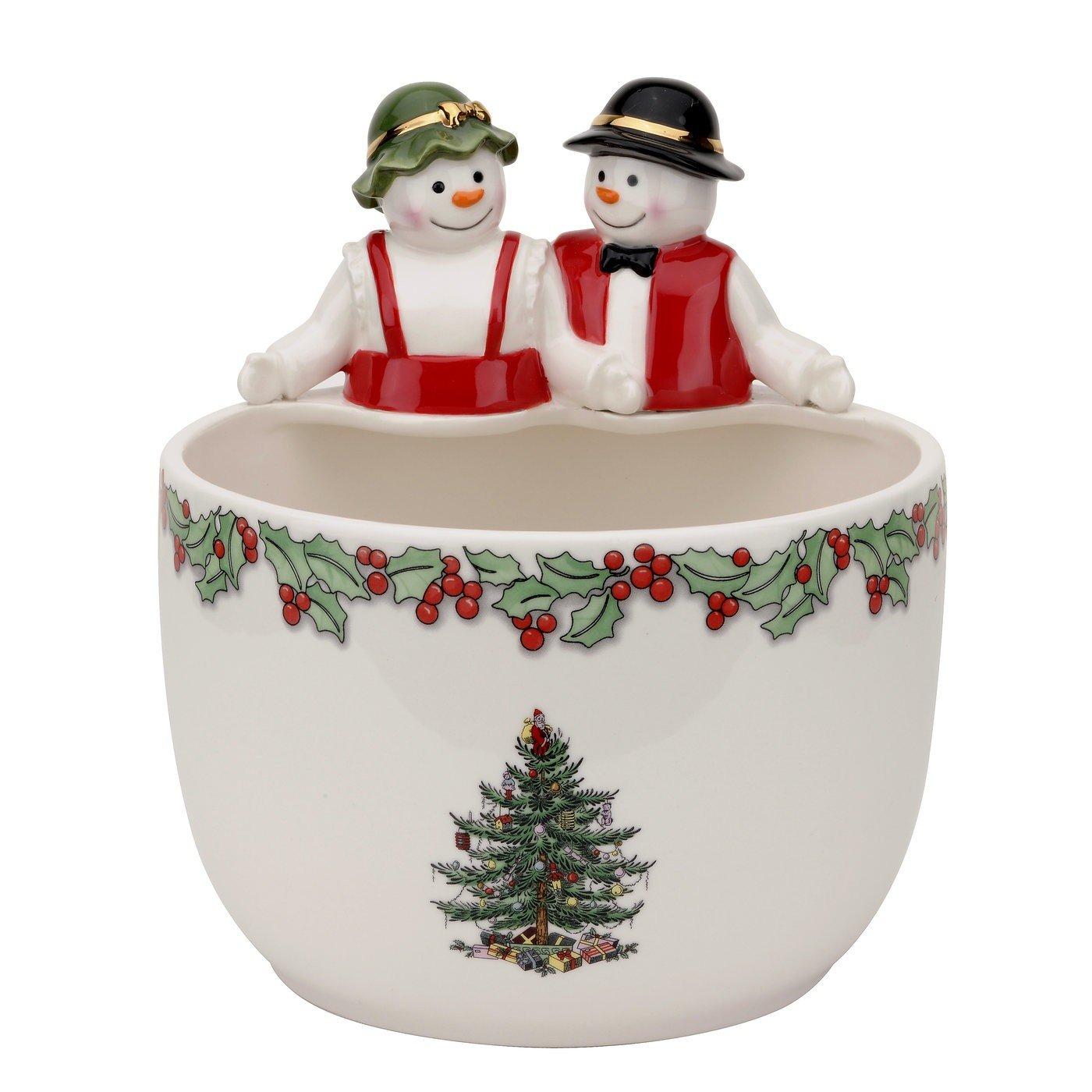 Spode Christmas Tree Mr. & Mrs. Snowman Candy Bowl