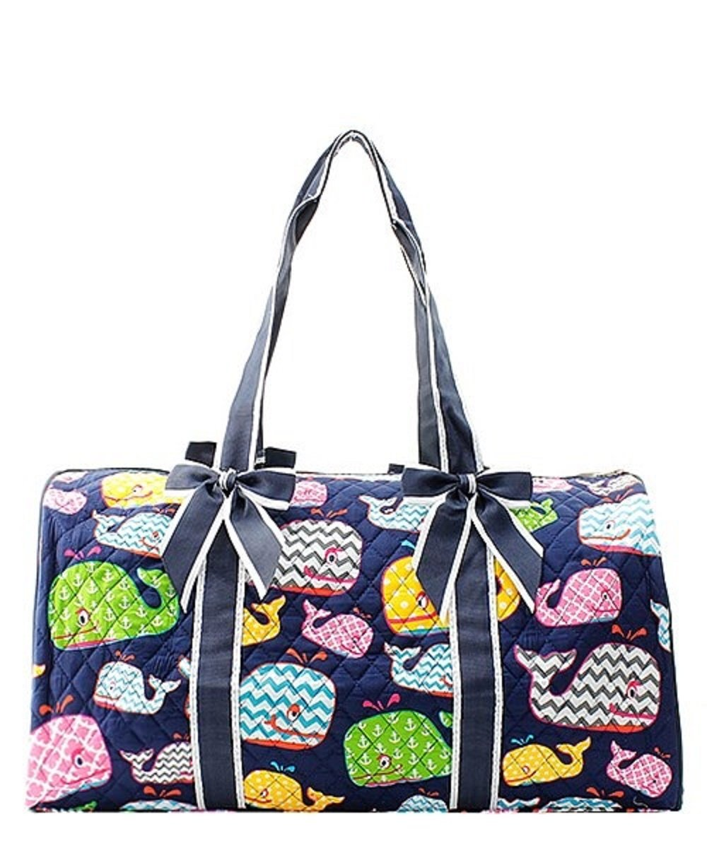 Quilted Whale Shoulder Duffel Bag