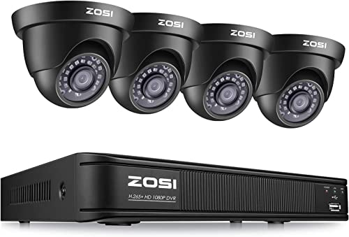 ZOSI 1080P Security Camera System for Home, H.265 CCTV DVR 4 Channel and 4 x 1080p 2MP Weatherproof Dome Camera Outdoor Indoor, Remote Access, Motion Deteion No Hard Drive