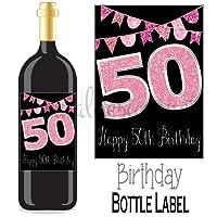 Eternal Design 50th Birthday Bottle Label Wine Gift....Pink Glitter