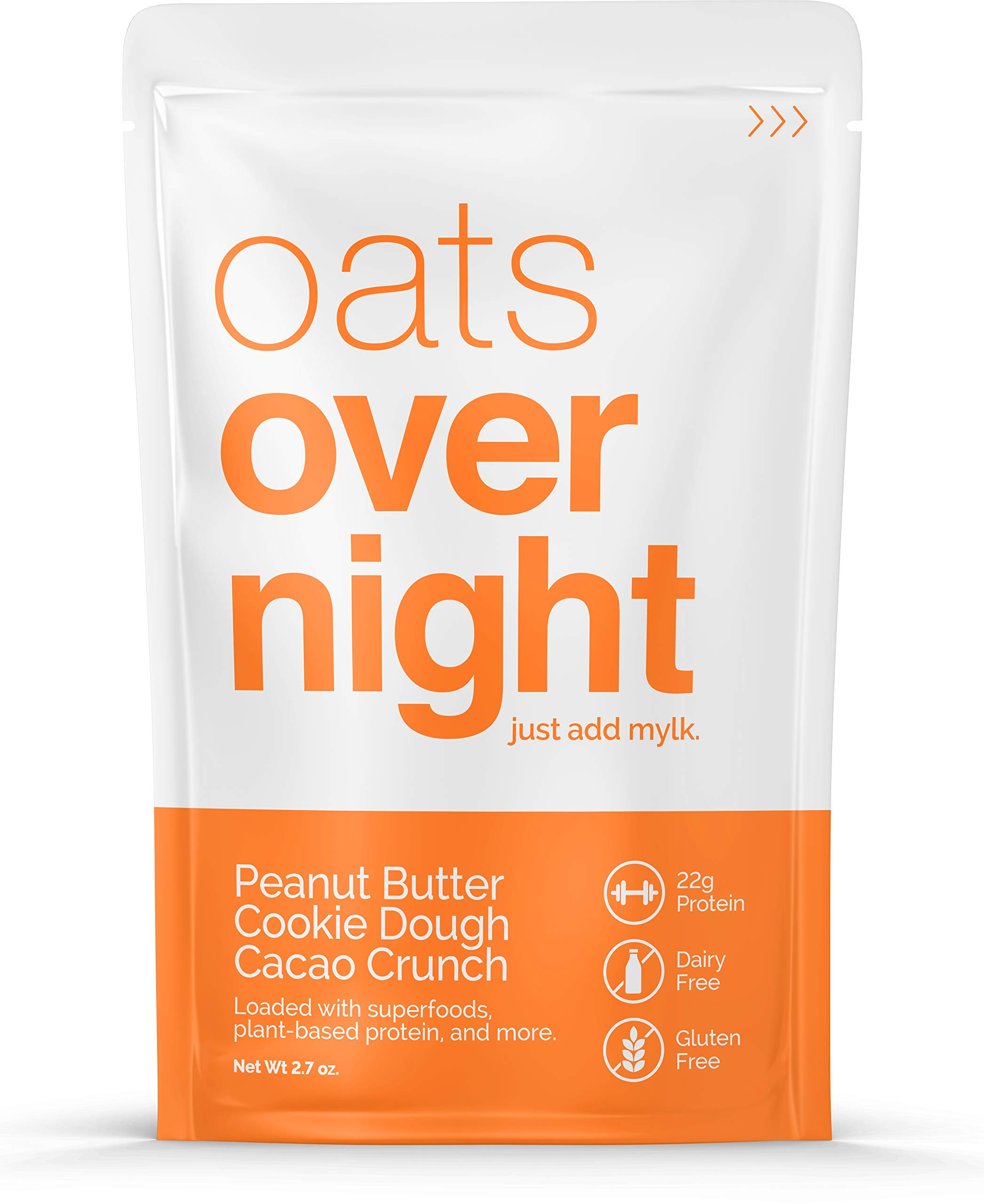 Oats Overnight Dairy-Free - Peanut Butter Cookie Dough Cacao Crunch - Premium High-Protein, Low-Sugar, Gluten-Free, Vegan Oatmeal (2.6oz per pack) (12 Pack) by Oats Overnight