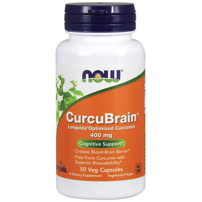 Now Supplements, CurcuBrain 400 mg with Longvida Optimized Curcumin, 50 Veg Capsules by NOW Foods