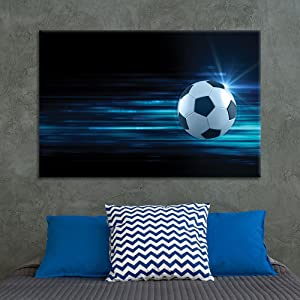 wall26 - Canvas Wall Art Sports Theme - Flying Spinning Soccer - Giclee Print Gallery Wrap Modern Home Art Ready to Hang - 24x36 inches