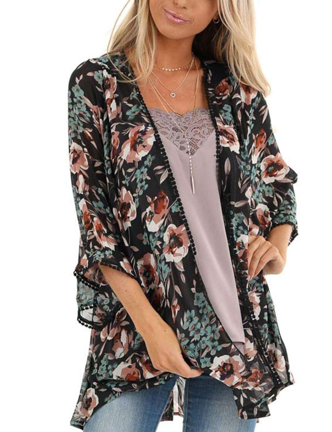 Women's Open Front Top Chiffon Floral Kimono 3/4 Sleeve Split Short Cover Ups