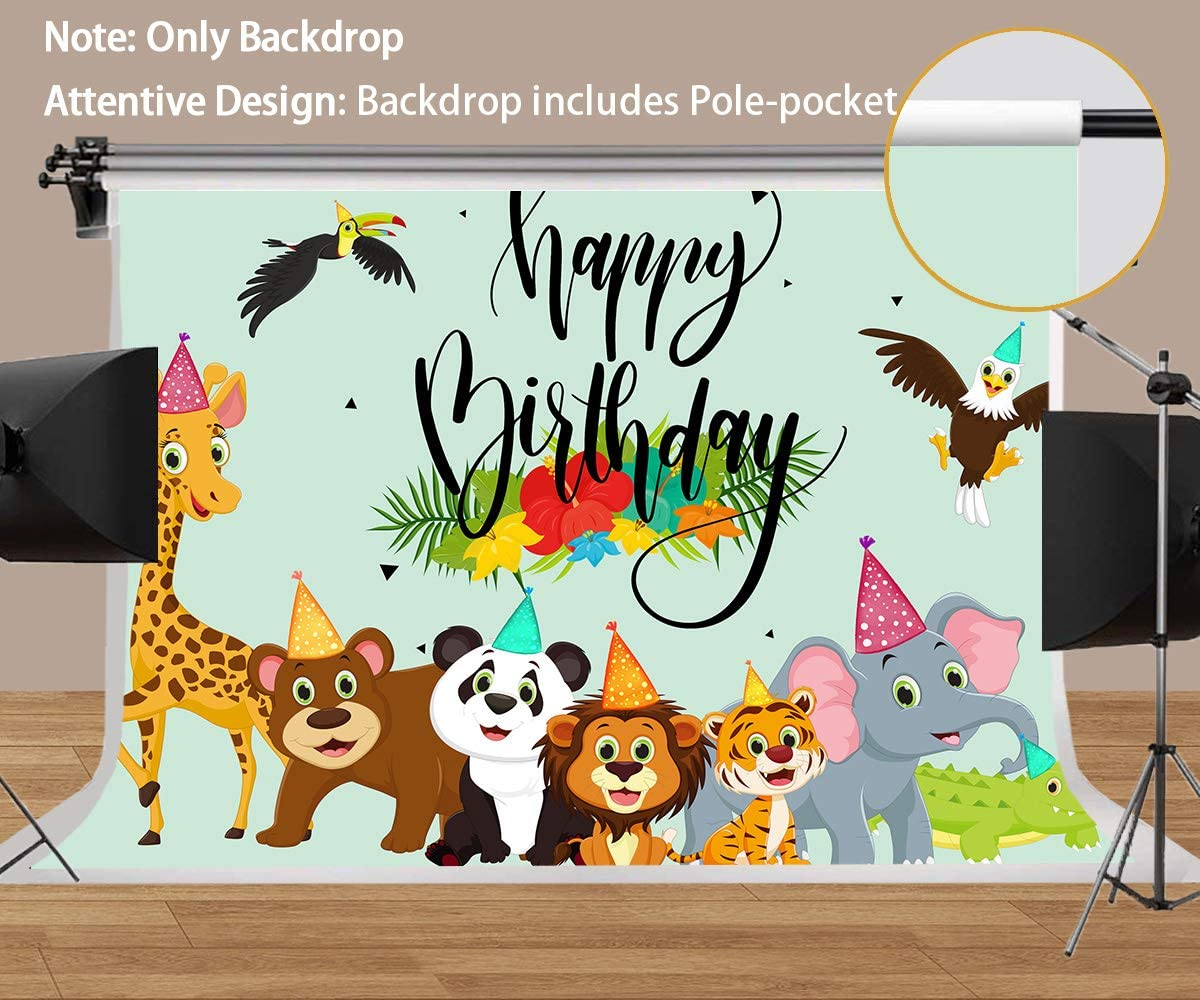 Cartoon Animal Backdrop for Birthday Party Photography Cute Animals Big Family Photographing Background MEETSIOY 10x7ft ZYMT0699