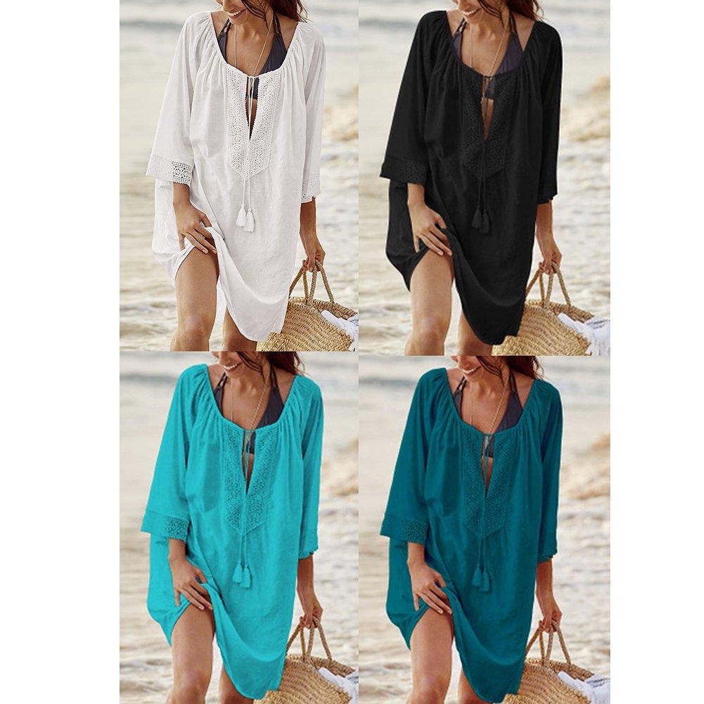 50c87d061fe7 Juleya Donna Copricostume Mare Abito Poncho da Spiaggia con Protezione UV  Tunica in Pizzo Cotone Lunga Camicia Tinta Unita Abiti Estivi Bikini ...