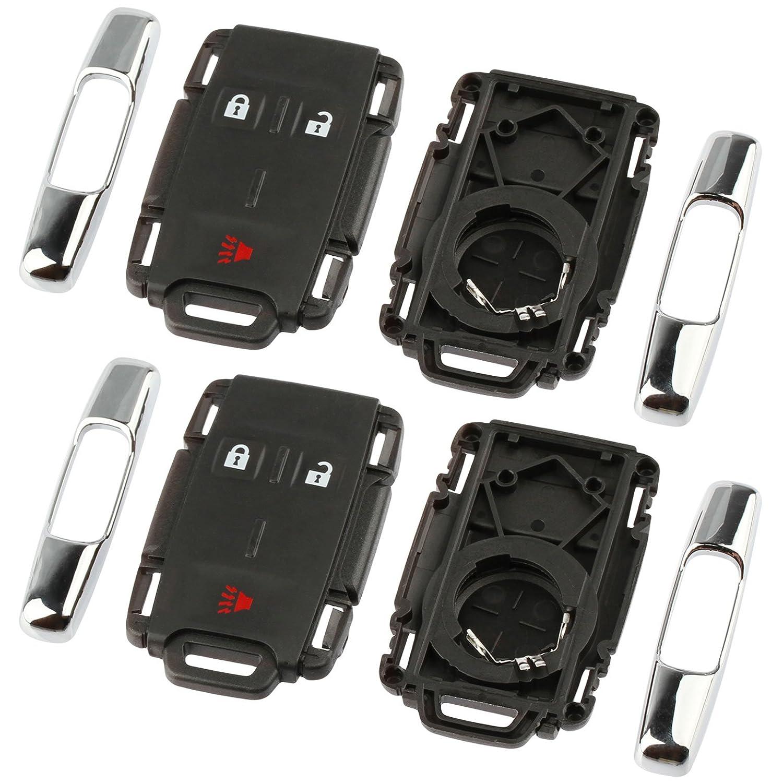 GMC Sierra Canyon 2014 2015 2016 2017 Chrome Key Fob Keyless Entry Remote Shell Case /& Pad fits Chevy Silverado Colorado M3N-32337100