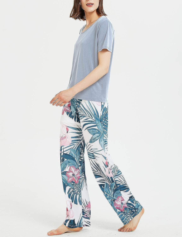 Mujer Pantalones Casuales De Mujer Con Estampado Floral Pantalones Playeros De Verano Con 2 Bolsillos Pantalones De Pierna Ancha Para Descansar Pantalones De Pijama Ropa Brandknewmag Com