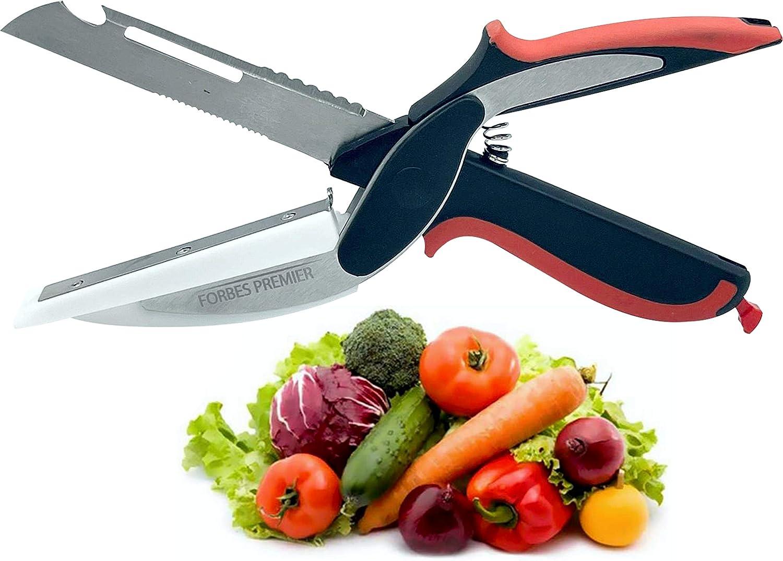 Clever Food Chopper Universal Scissors Kitchen Food Cutter Chopper Clever Kitchen Knife Clever Multipurpose Food Scissors Stainless Steel Vegetable Slicer (6 in 1, Orange and Black)