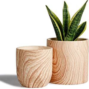 POTEY 053701 Ceramic Planter Flowerpots - 6 + 4.8 inch Modern Decorative Plant Pot Containers for Aloe Plants Flower Home Decor Indoor(Natural Wood Texture, Plant NOT Included)