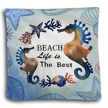 Amazon.com: Caballitos de Mar Decorativo Almohada cubierta ...