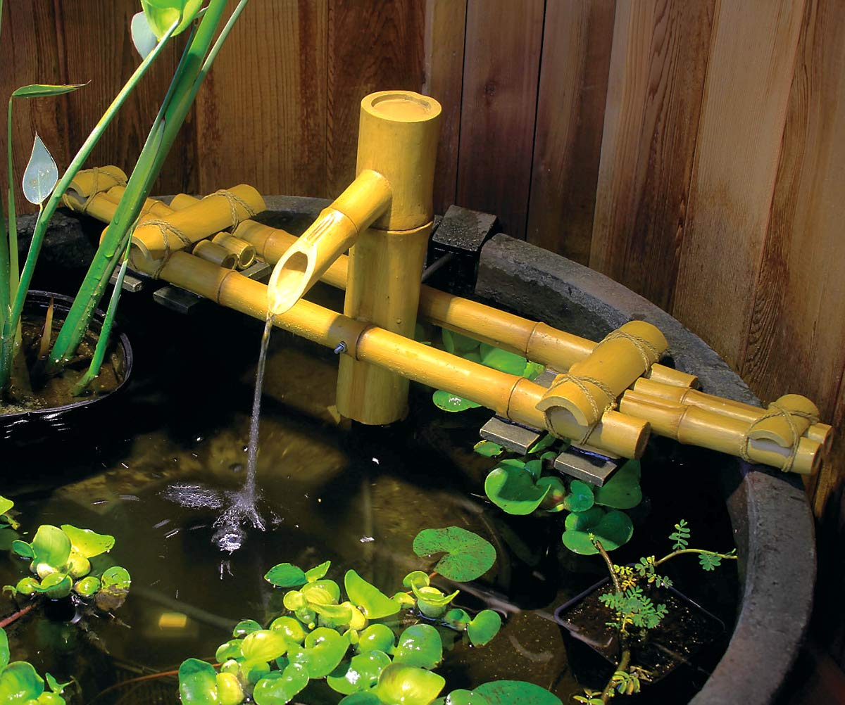 Aquascape Adjustable Pouring Bamboo Fountain Fountain for Ponds and Water Gardens, Poly-Resin   78308 by Aquascape