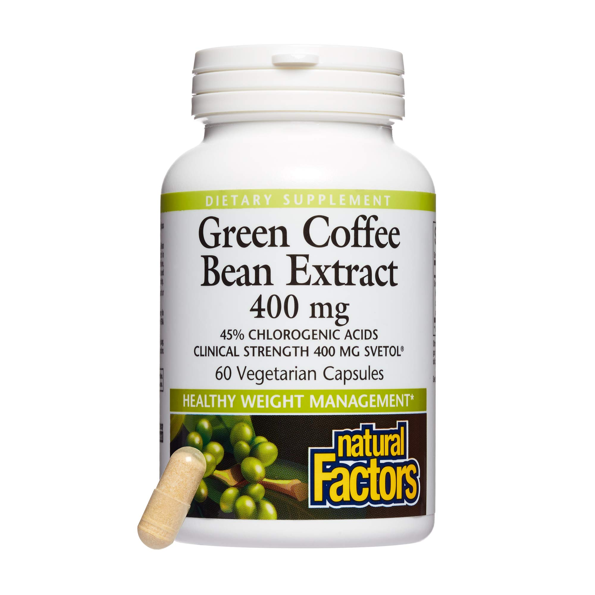 Natural Factors, Green Coffee Bean Extract 400 mg, Supports Healthy Weight Management, 60 capsules (60 servings) by Natural Factors