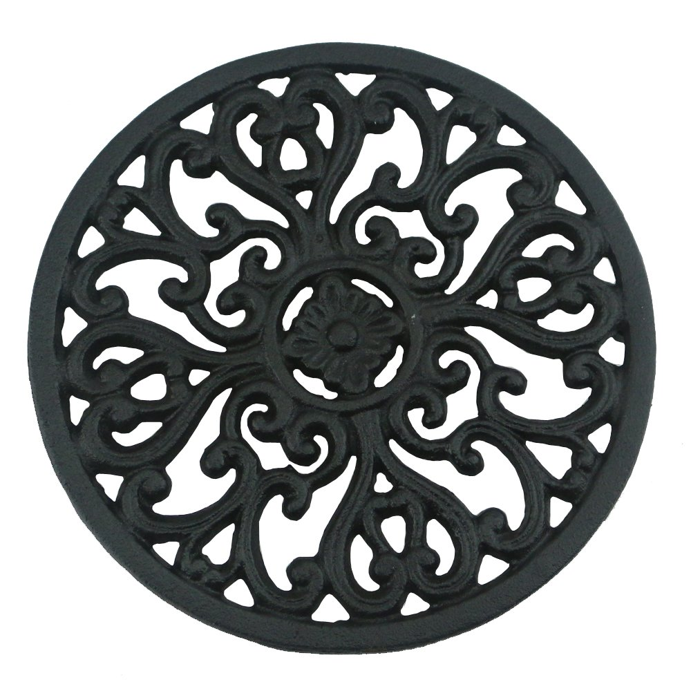 Ogrmar 6.6'' Diameter Decorative Cast Iron Round Trivet with Vintage Pattern for Rustic Kitchen Or Dining Table with Rubber Pegs (6.6'', Brownish black) by Ogrmar