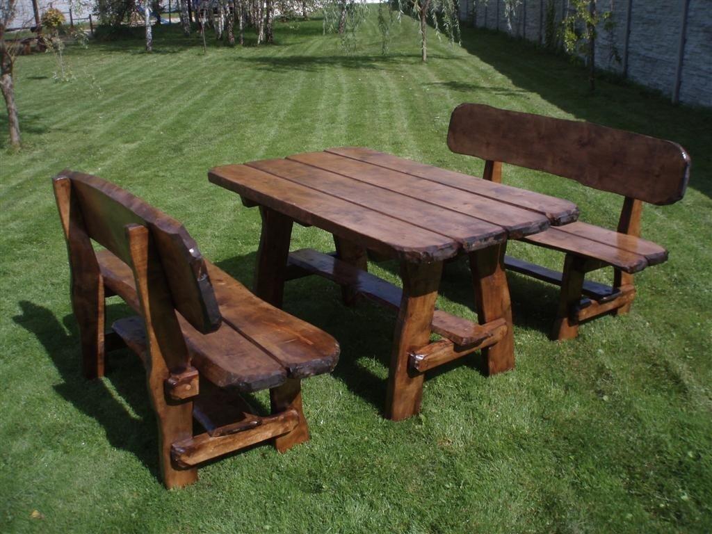 Timberline Sitzgruppe Wildlife 150 cm rustikal Outdoor Gartenmöbel, Farbe:Palisander;Material:Eiche