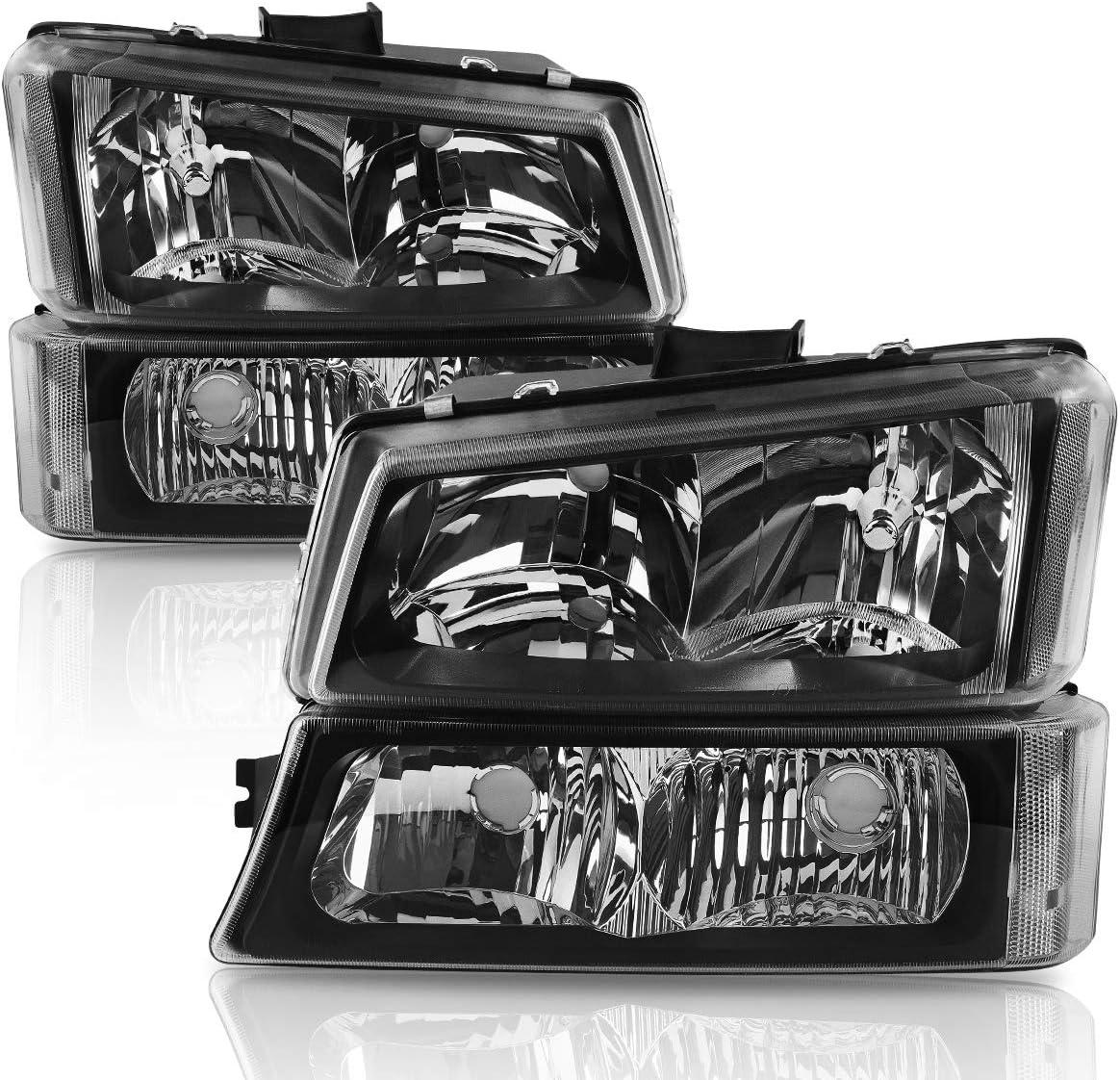 LED Tail Light Fits 2003-2006 Silverado 1500//1500HD// 2500// 2500HD// 3500 2007 Classic Black Smoke Headlight Bumper Lamp