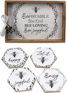 Honey Bee Home Decor Bee Serving Tray and Drink Coasters Set With Inspirational Sayings - Bee Joyful, Bee Kind, Bee Humble, Bee Happy