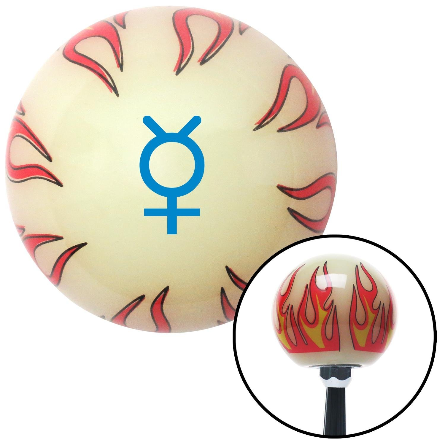 American Shifter 293006 Shift Knob Blue Mercury Ivory Flame with M16 x 1.5 Insert