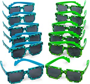Kicko Pixel Sunglasses, Birthday Party Favors for Kids and Adults, 12 Pack