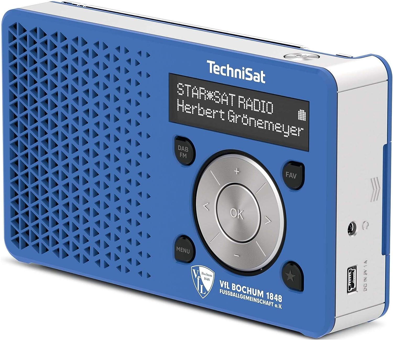 Technisat Digitradio 1 Vfl Bochum Edition Dab Radio Klein Tragbar Mit Lautsprecher Dab Ukw Favoritenspeicher Oled Display 1 Watt Rms Blau Silber Heimkino Tv Video