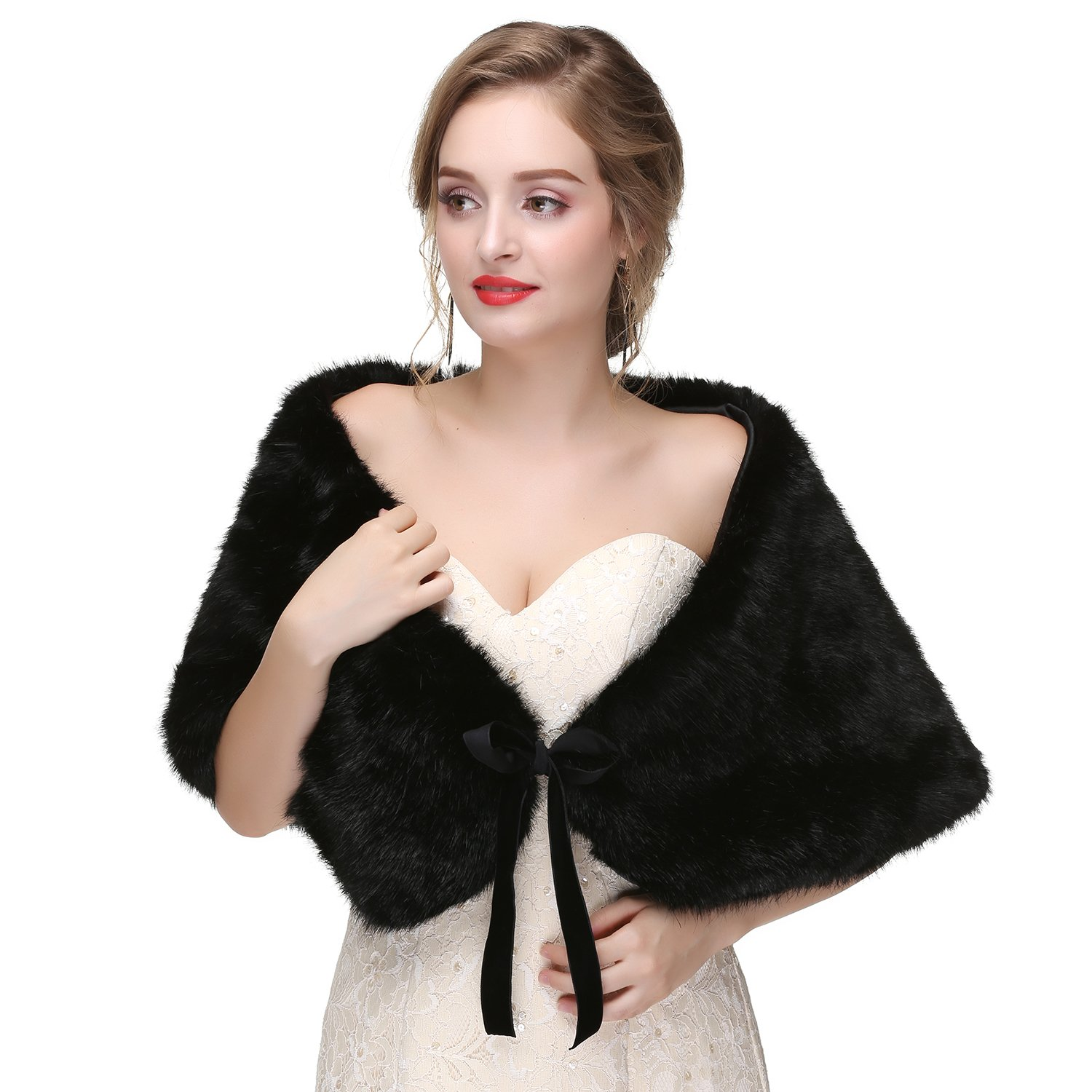 2018 New Arrival Winter Wedding Bridal Shrug Faux Fur Shawl