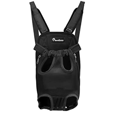 PAWABOO Pet Carrier Backpack, Adjustable Pet Front Cat Dog Carrier Backpack Travel Bag with Sponge Padding Shoulder Straps, Legs Out, Easy-Fit for Traveling Hiking Camping