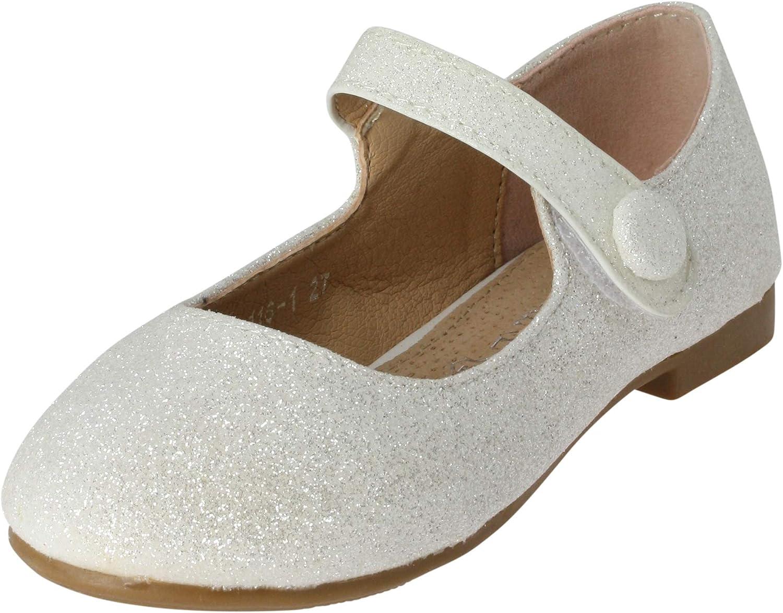 Boutique-Magique Chaussures c/ér/émonie Mariage Enfant Fille Blanche avec Paillette