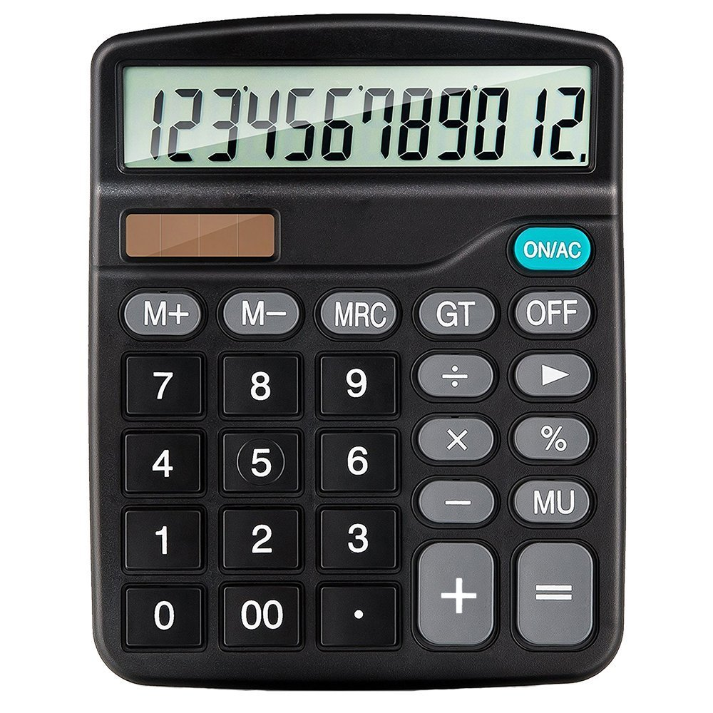 2014 Desktop Calculator, Acoben 12-Digit Standard Office Calculator, Solar Battery Dual Power Handheld Calculator with Large LCD Display Big Sensitive Button