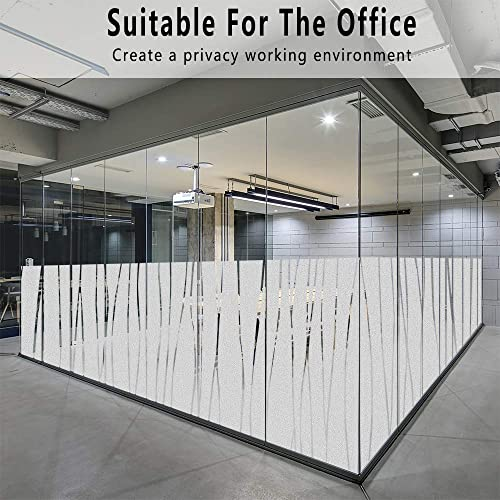 Finnez Window Film for Privacy and Light Protection Vinyl Sticker Film Creates a Frosted Glass Look Static Cling Perfect for Home and Office 35.4 x 157.4 , Irregular Stripe