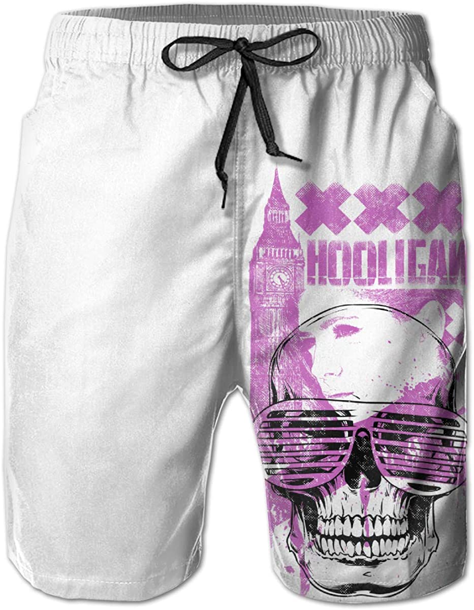 HZamora/_H Mens Hooligam Skull Summer Breathable Quick-Drying Swim Trunks Beach Shorts Cargo Shorts XL