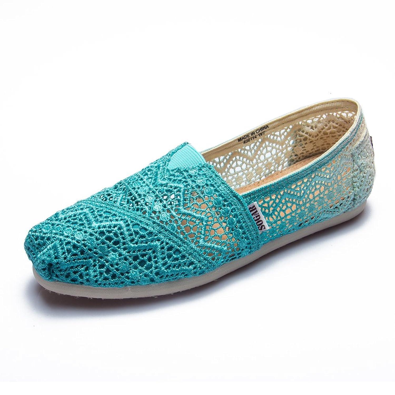 SOGAR Women's Crochet Classic Slip-on Blue Shoes