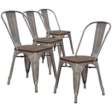 LCH Industrial Metal Wood Top Stackable Dining Chairs, Set of 4 Vintage Indoor Outdoor Stackable Bistro Cafe Chairs with Back, Glossy Steel