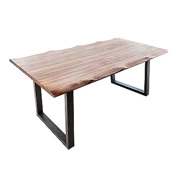 massiver baumstamm tisch genesis 200cm akazie massivholz baumkante esstisch mit kufengestell industrial finish kuchentisch holztisch