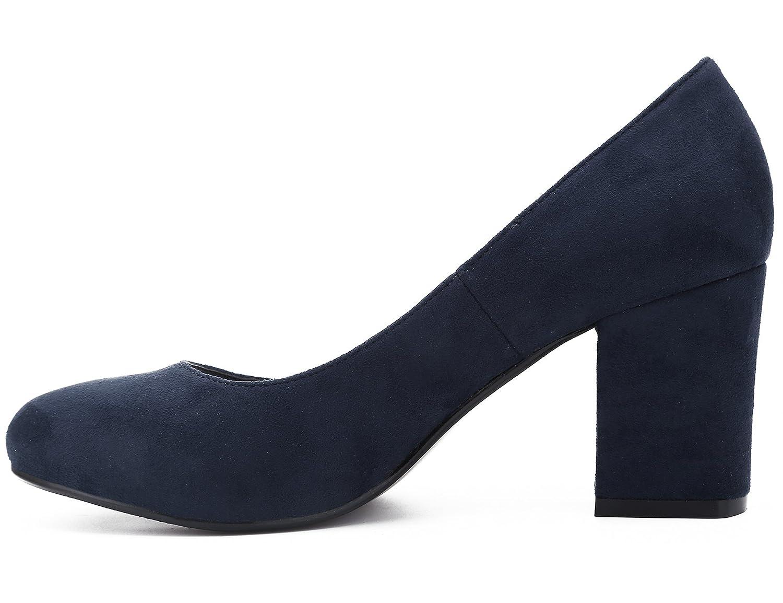 MaxMuxun Zapatos de Tacón Punta Cerrada Redonda Diseño Elegante Moda sin Cordones con Tacón Ancho para Mujer: Amazon.es: Zapatos y complementos