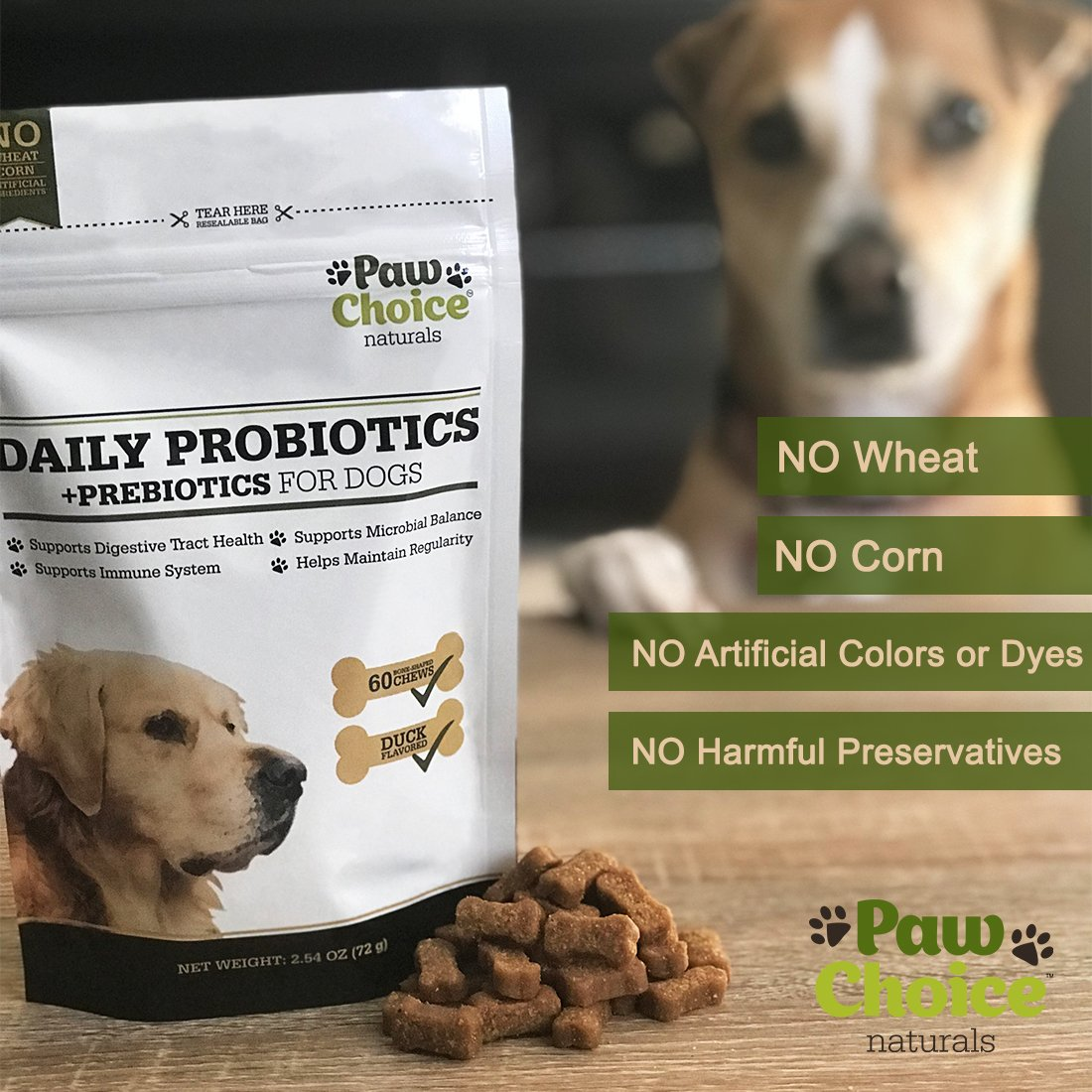Probiotics for Dogs with Prebiotics - Daily Chews for Digestion, Regularity, Diarrhea Relief, Plus Supports Immune System and Health - Natural Supplement and Treat Made in USA by Paw Choice (Image #2)