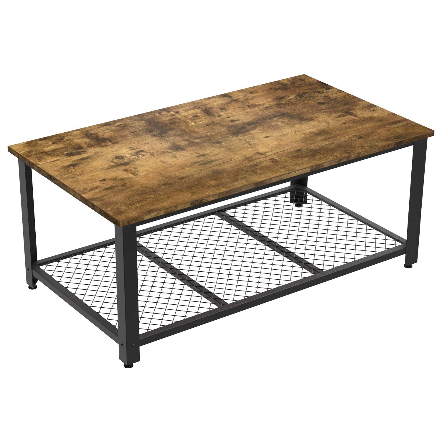 IRONCK Industrial Coffee Table for Living Room, Tea Table with Storage Shelf, Wood Look Accent Furniture with Metal Frame, Rustic Home Decor, Vintage Brown by IRONCK