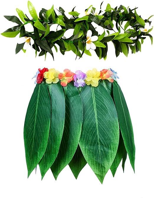 GreSky - Falda de Hojas Verdes para Fiesta Hawaiana, diseño de ...