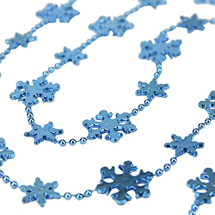 st nicks choice shiny metallic blue snowflake beaded christmas garland 8 - Beaded Christmas Garland