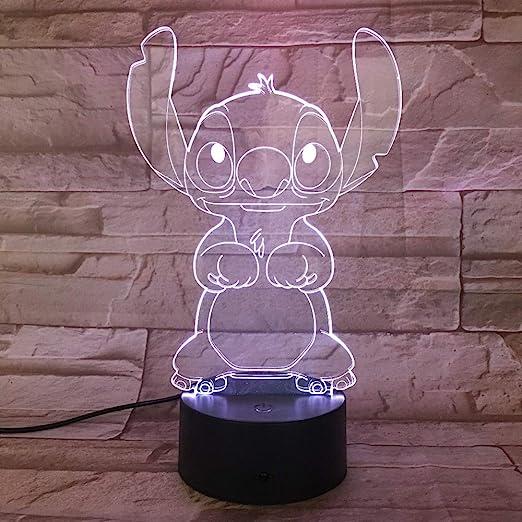 WoloShop Lampara LED Stitch Cambia Color USB Luz Nocturna ...