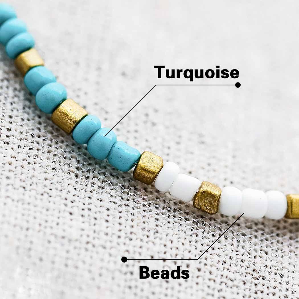 Forall Bracelets De Cheville En Argent Turquoise Bracelet De Cheville En Perles d/Ét/é Boho Bijoux Plage Cha/îne De Cheville R/églable Pour Femmes Filles Amis