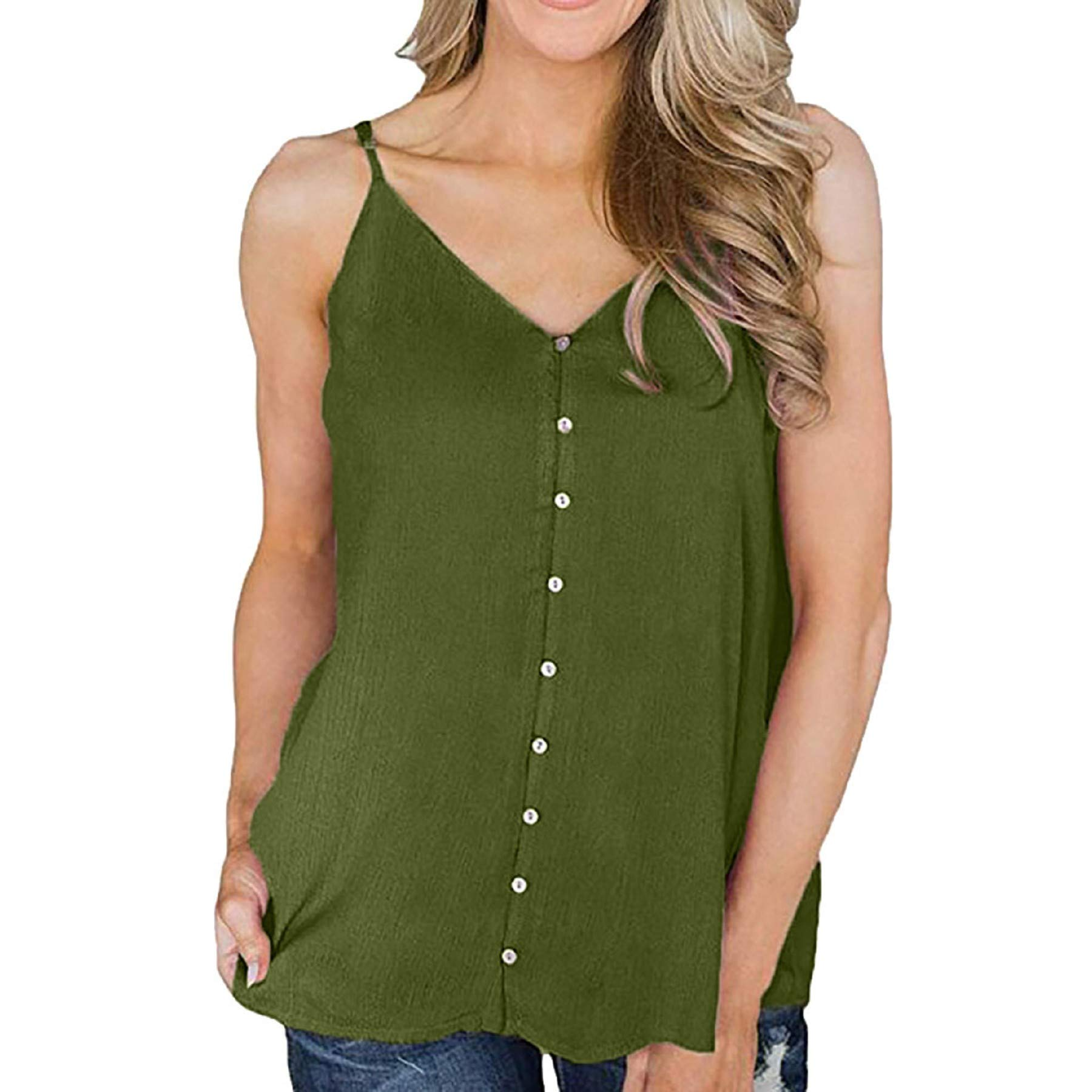 Women's Casual Summer Sleeveless Spaghetti Strap Button Tank Top Ladies Fashion V Neck Vest Top Blouse Green