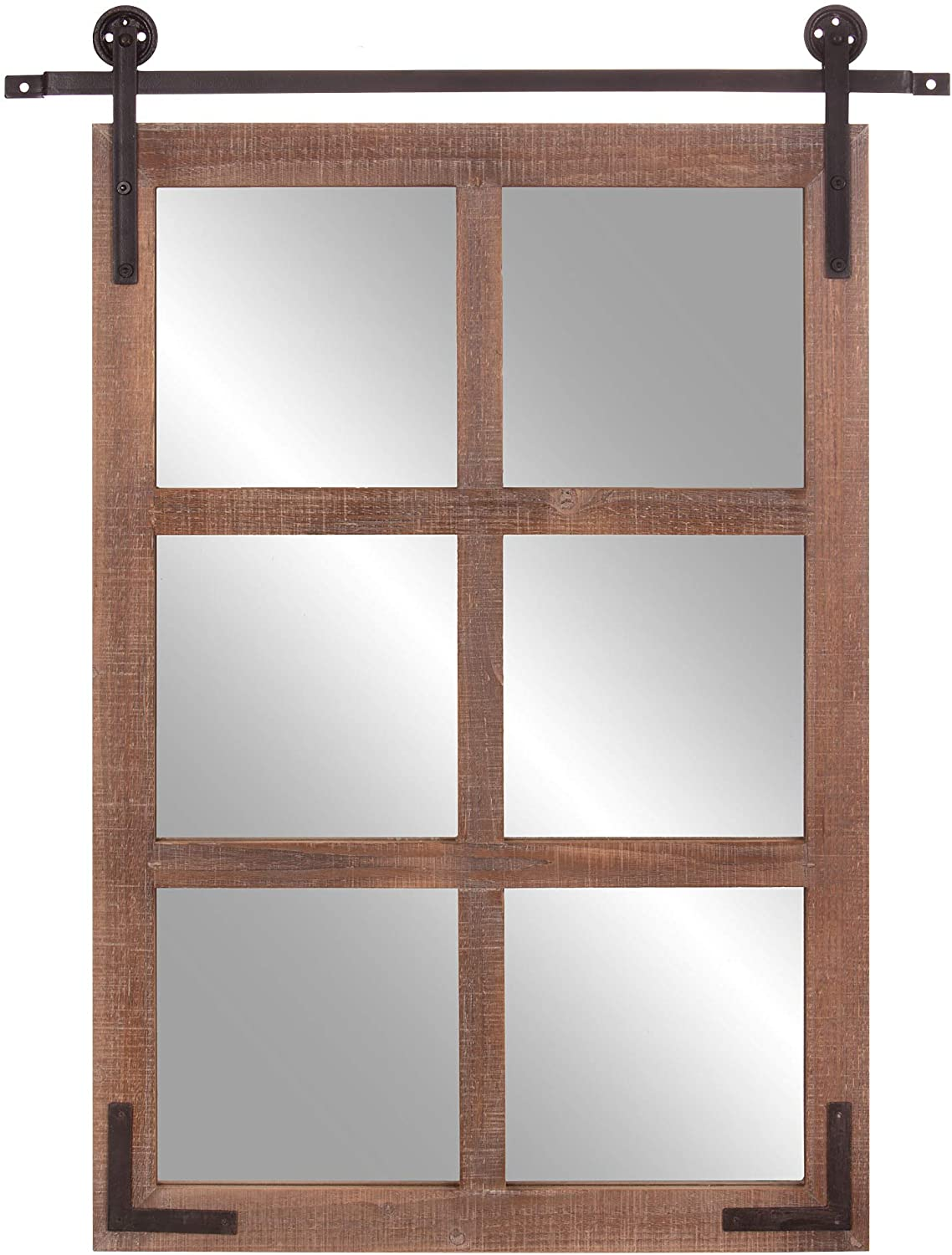 Patton Wall Decor 30x36 Sliding Barn Door Wood Window Wall Mounted Mirrors, Brown
