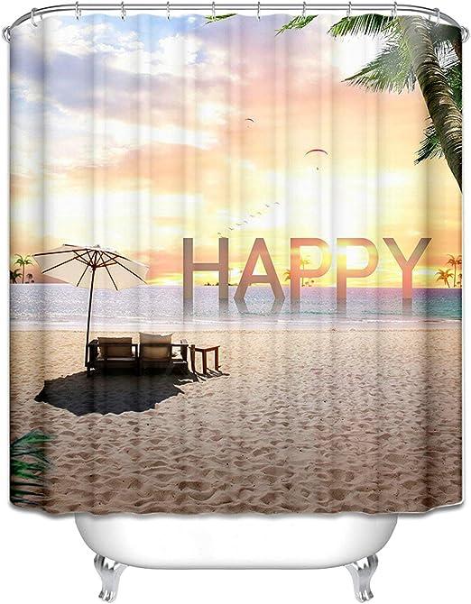 Amody Cortinas Ducha Poliester Inglés Happy Sea Beach Cortina de Ducha Impermeable Marrón Claro Cortinas para Baño 90x180CM: Amazon.es: Hogar