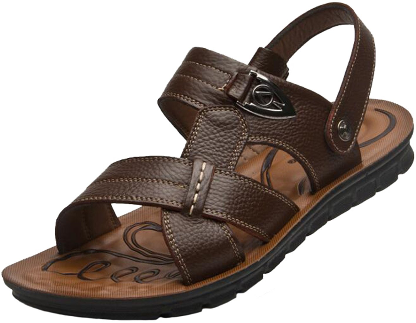 PPXID Men's Leather Flat Sandbeach Sandals Casual Slipper(Big Size Available)-Brown 15 US Size