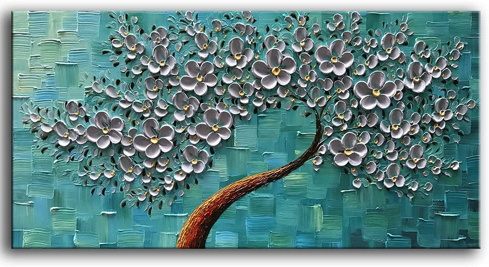 YaSheng Art - 100% Hand Painted Oil Painting On Canvas Texture Palette Knife Silver Flowers Paintings Modern Home Decor Wall Art Painting 3D Abstract Artwork Paintings (20x40inch)