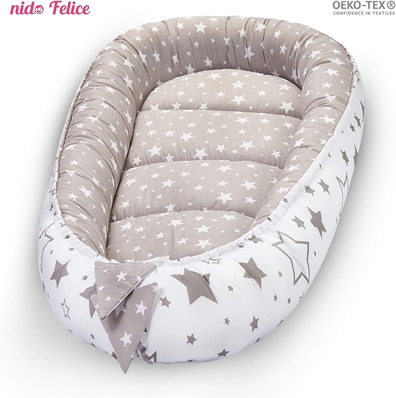 Nido Felice cunas para bebes| Reductor De Cuna Reversible|Seguro i Multifuncional Fabricado en la UE Certificado OEKO-TEX®|Universal,Paragolpes ergonómico para el bebé |Cambiador|