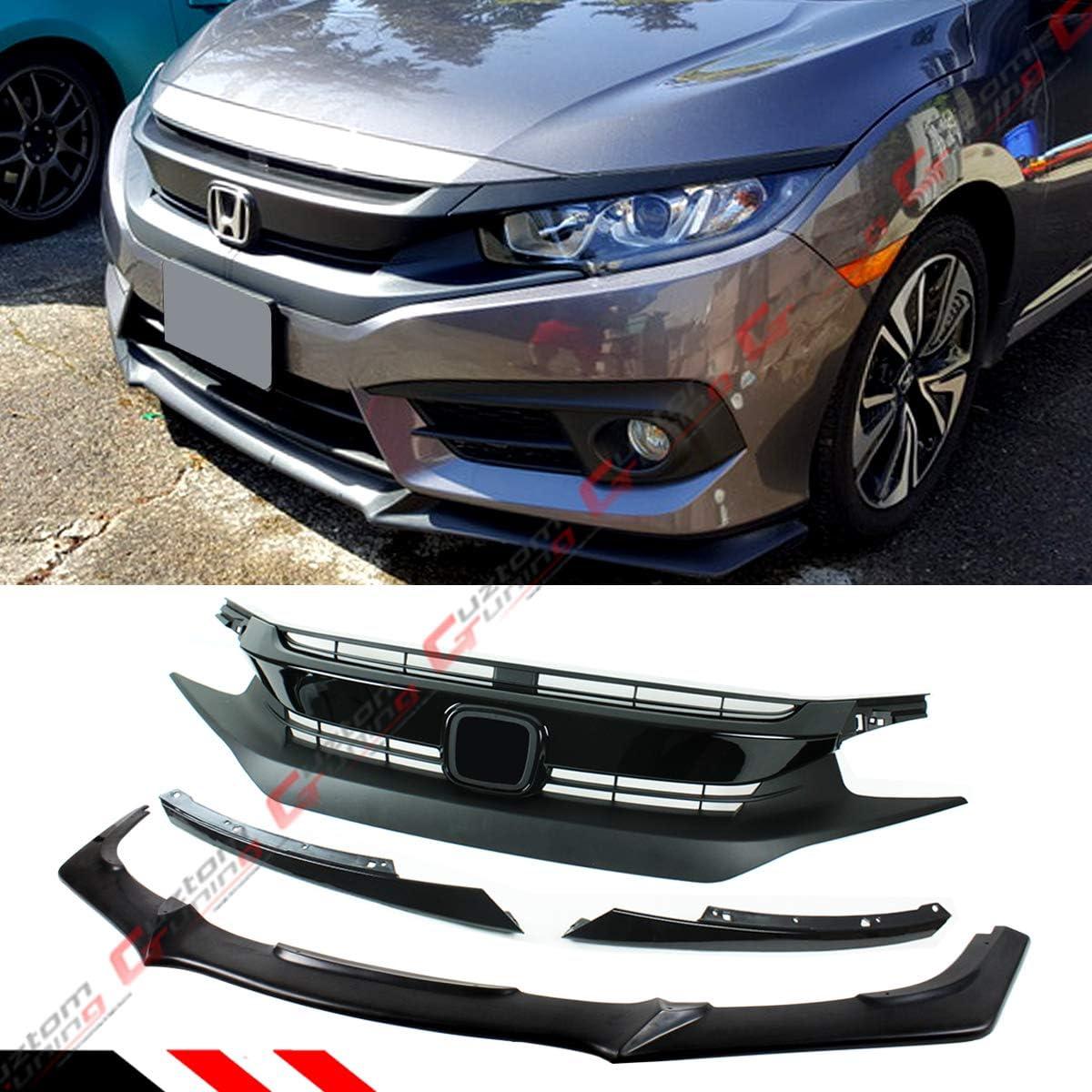 Fit 2016-2018 Honda Civic Gen 10Th Black Front Bumper Body Kit Spoiler Lip 3PCS