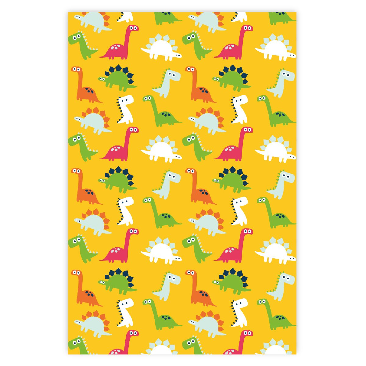 Kartenkaufrausch Lustiges Comic Dinosaurier Kinder Geschenkpapier Set als edle Geschenk Verpackung auf gelb Dekorpapier zum basteln 32 x 48cm 4 B/ögen Musterpapier