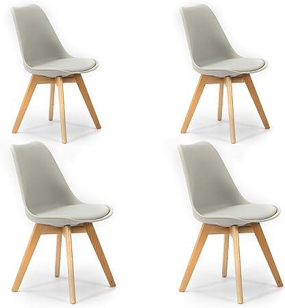 VS Venta-stock Pack 4 sillas Klara Gris, Pata Madera y Asiento Acolchado, Estilo nórdico: Amazon.es: Hogar