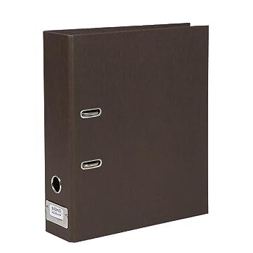 Rössler SOHO - Archivador con soporte de metal identificador de archivo de palanca (Lomo de 80 mm, A4, color marrón oscuro: Amazon.es: Oficina y papelería